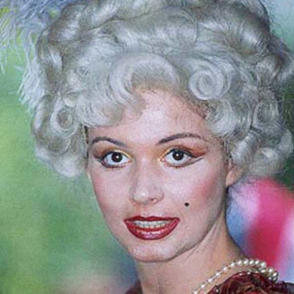 immagine di donna che indossa una parrucca bianca da donna con piume.