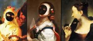 l'immagine rappresenta tre dipinti di altrettante maschere da Moretta