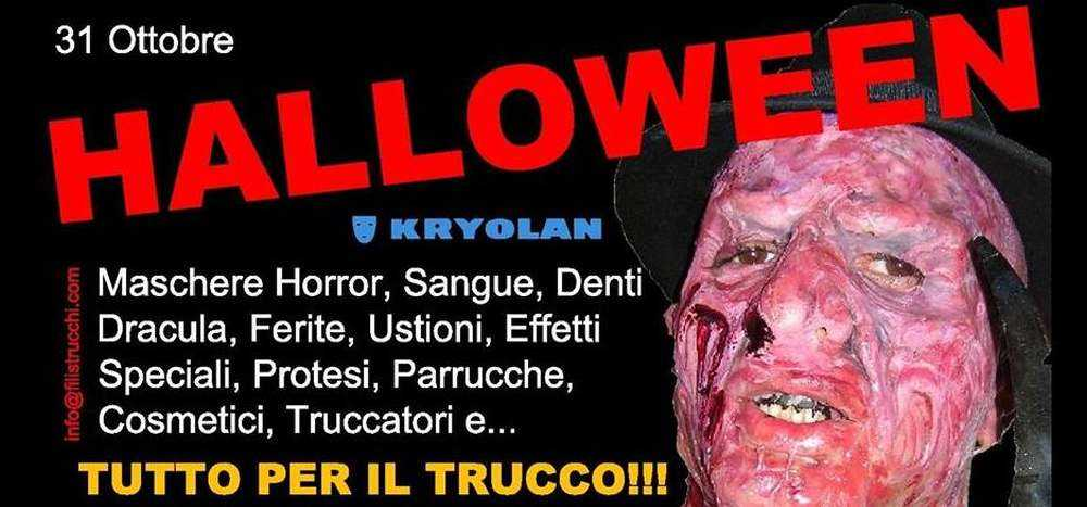 Halloween filistrucchi la foto rtraee un immagine del trucco filistrucchi ritraente il personaggio di Freddy Kruger utilizzata per la campagna pubblicitaria