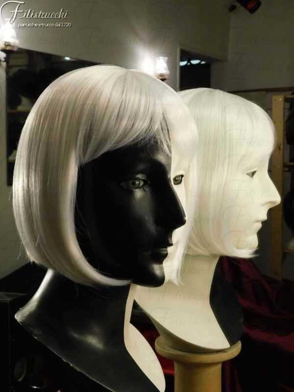 Parrucca caschetto bianca sintetica art pia white