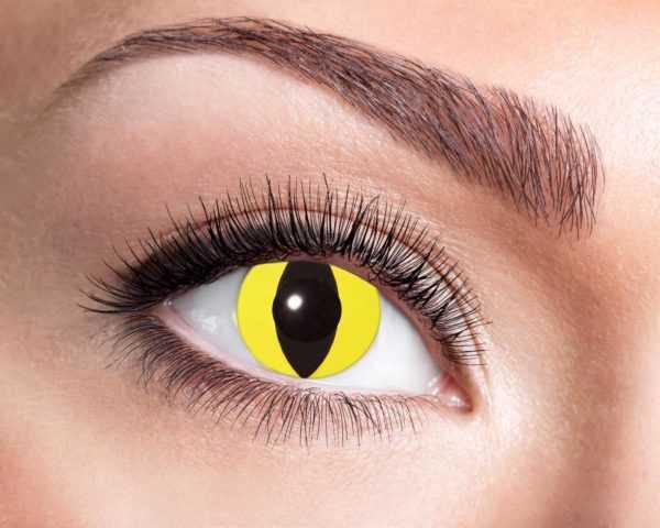 Lenti a contatto trimestrali cosmetiche tipo gatto con iride gialla