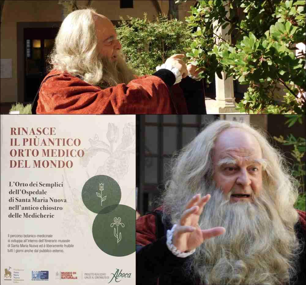 Passeggiata Botanica Leonardiana in Santa Maria Nuova con Fabio Baronti nei panni di Leonardo da Vinci