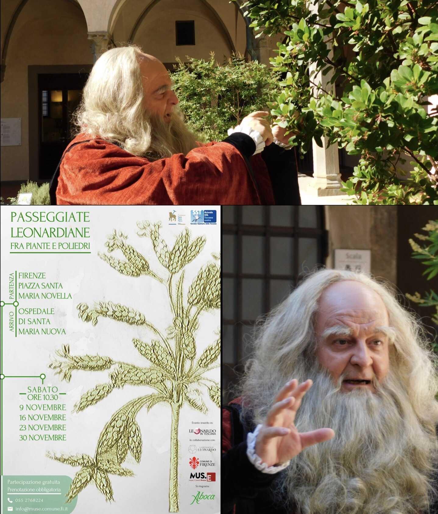 Tornano le Passeggiate Botaniche Leonardiane in Santa Maria Nuova con Fabio Baronti nei panni di Leonardo da Vinci