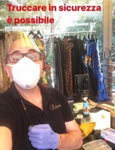 Truccando in sicurezza da Pola Cecchi per lo shooting fotografico per l' e-commerce dell'Atelier Giuliacarla Cecchi